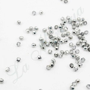 Faceted pearls - 4 mm. - Silver 54