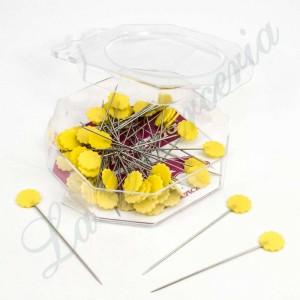 Alfileres de fantasía - Flores amarillas - (50 u.)