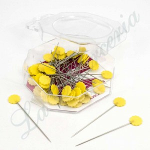 Fantasy needle box - Yellow flowers - (50 u.)