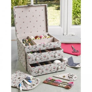 "Sewing box ""little roses - Vintage""  - ""DMC"" - two drawers"