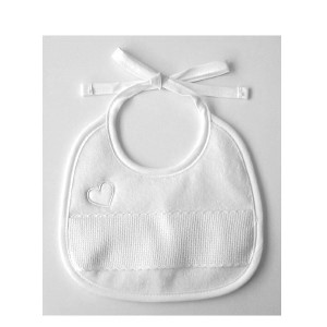 White Bib - Embroidered Heart - DMC