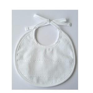 White Bib - Embroidered Fabric - DMC