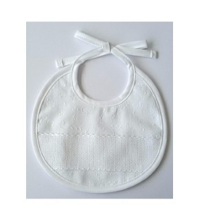 White Bib - Embroidered Fabric - DMC