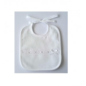 White bib - Embroidered strip - DMC