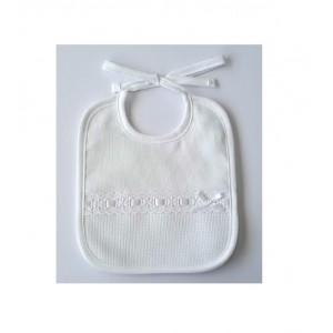 White bib - Embroidered strip - DMC