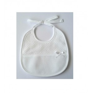 White Bib - Rhombus Fabric - DMC