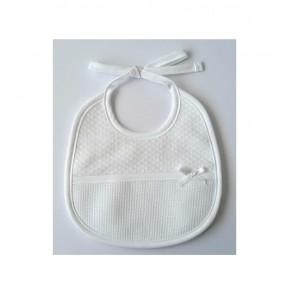 White Bib - Rhombus Fabric - DMC