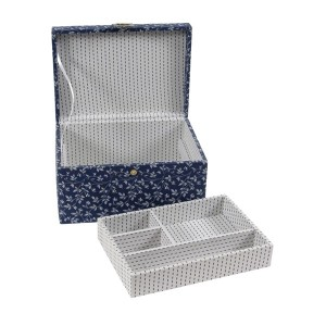 "Sewimg Box ""Fleurs Bleues"" - DMC - Rectangular with a Tray"