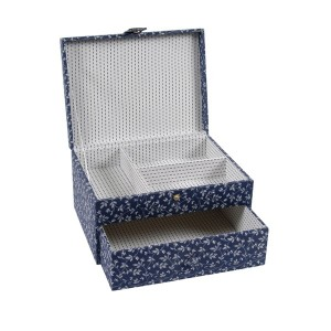 "Sewimg Box ""Fleurs Bleues"" - DMC - Rectangular with a Drawer"