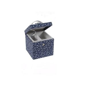 "Sewimg Box ""Fleurs Bleues"" - DMC - Square with a Drawer"