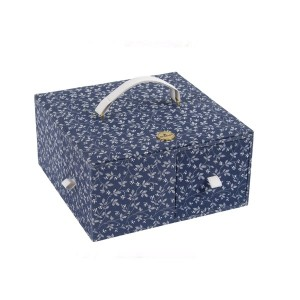 "Sewimg Box ""Fleurs Bleues"" - DMC - Square with 4 Drawer"