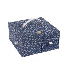 "Sewimg Box ""Fleurs Bleues"" - DMC - Square with 4 Drawer"
