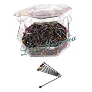 Plastic needles box - Assorted colours - Form of pear - Jabalí - 30 x 0,59 mm. (200 u.)