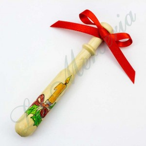 Hand-painted Galician bobbin - Christmas -  Candle