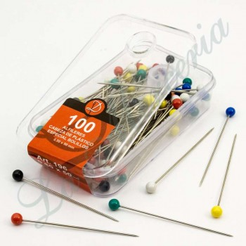 Plastic needles box - Assorted colours - Extra-long - 50 x 0.80 mm. (100 u.)