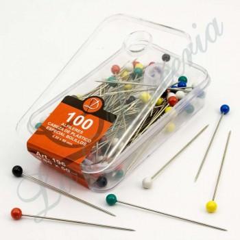 Alfileres de colores de plástico - Extra largos - 50 x 0.80 mm. (100 u.)