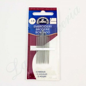 "Embroidery sharp end needles - No. 1-5 - ""DMC"""